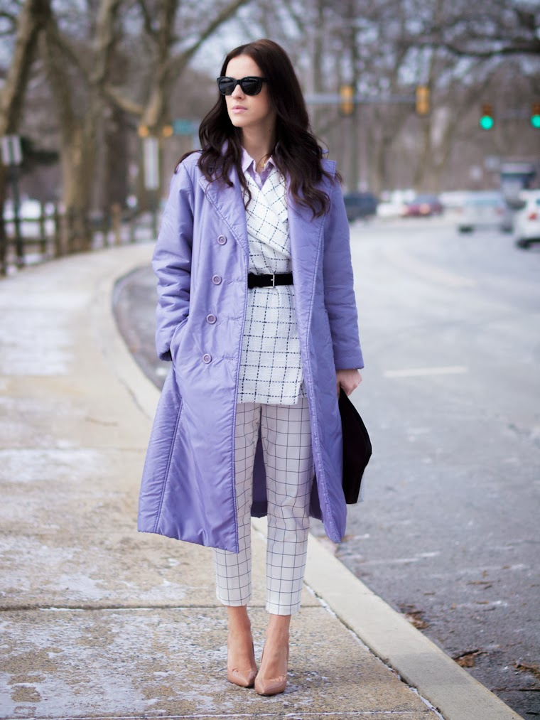 3.1 Phillip Lim, bittersweet colours, Christian Louboutin, colorful coats, Grids prints, Grids trend, purple coat, Ralph Lauren, street style, white on white, lavender, pastel trends