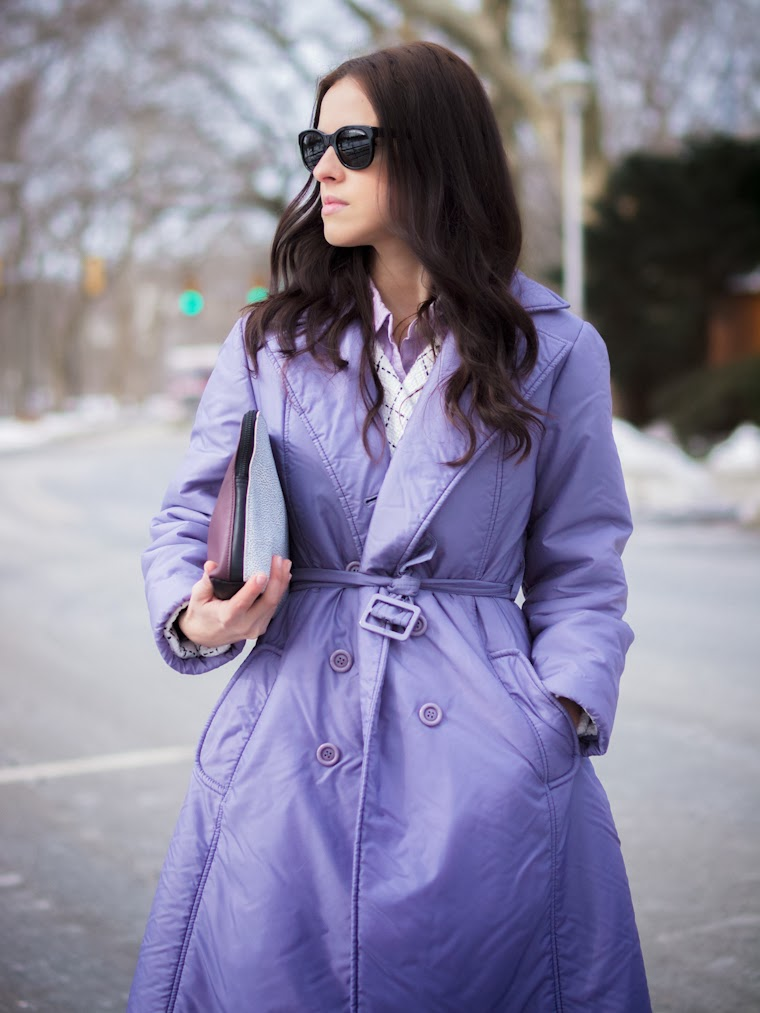 3.1 Phillip Lim, bittersweet colours, Christian Louboutin, colorful coats, Grids prints, Grids trend, purple coat, Ralph Lauren, street style, white on white,