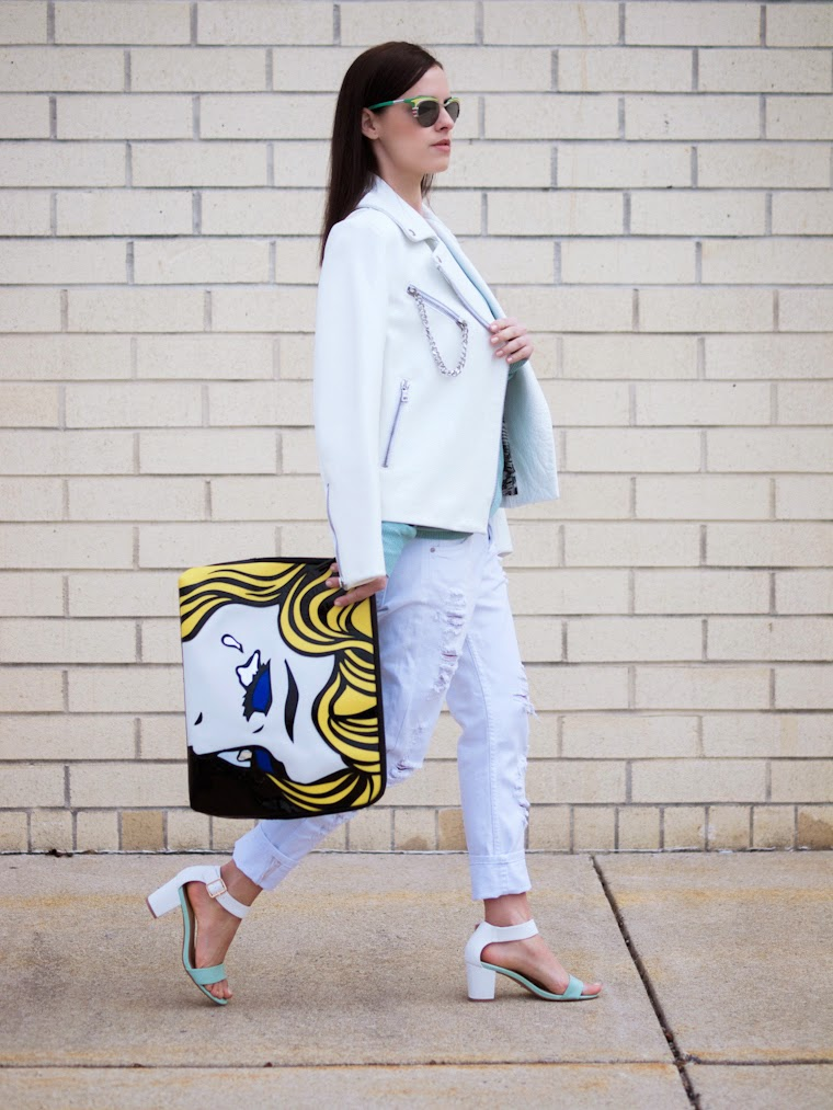 3.1 Phillip Lim, bittersweet colours, boyfriend jeans, Joe fresh, mint color, pop art, Prada sunglasses, Rachnel Zoe, Spring, street style, white leather jacket, white on white, Zara, Phyllis +Rosie,