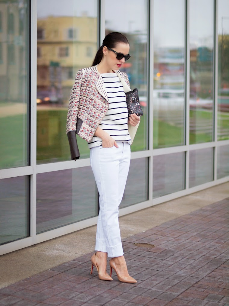 bittersweet colours, Joe fresh, white trend, white jeans, stripes, Aryn K, Proenza Schouler, Christian Louboutin, Spring trends, street style, fresh white, studded jacket,