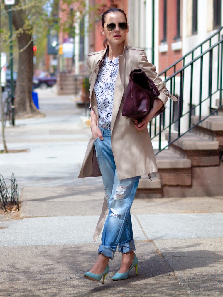 bittersweet colours, Philadelphia, street style, Spring, Trench coat, boyfriend jeans, Levis, polka dots,peter pan colar shirt, 3.1 Phillip Lim, RAY BAN, rachel roy, DKNY,