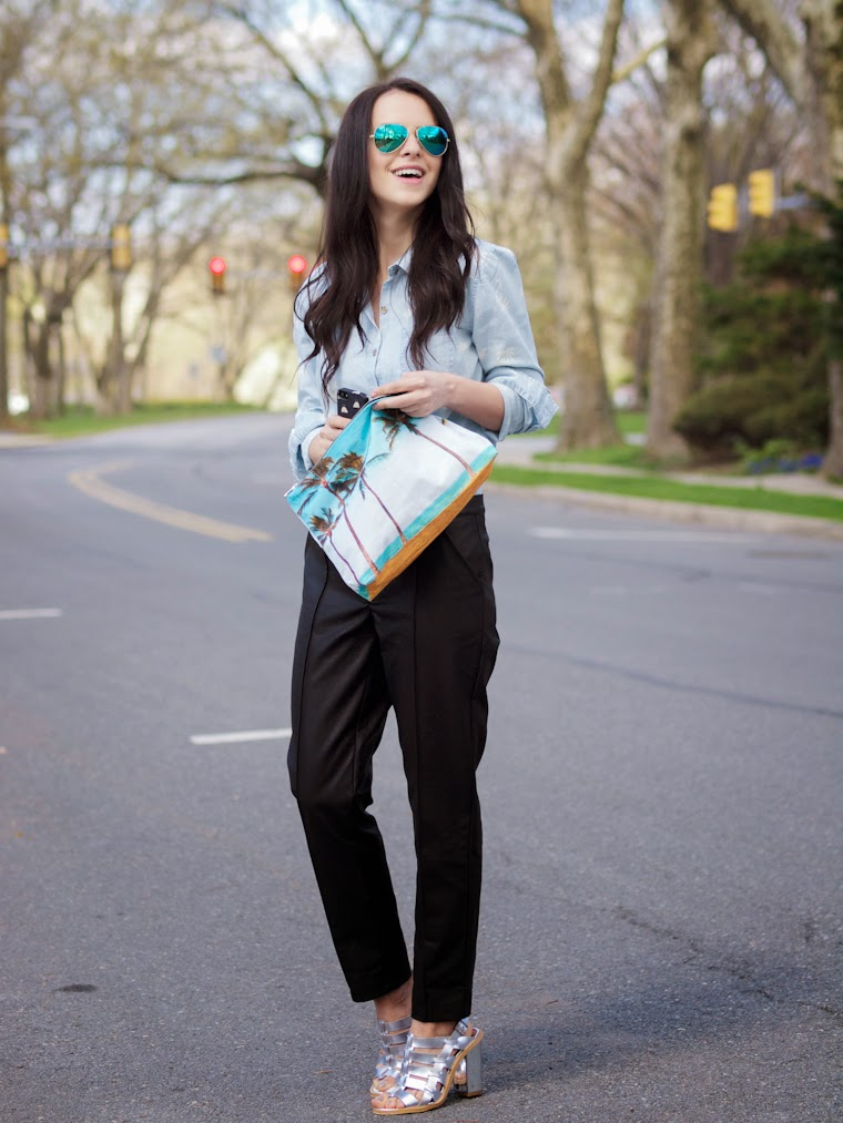 bittersweet colours, denim shirt, leather pants, metallic shoes, minkpink, RAY BAN, Samudra, Spring, street style, tropical prints, volcom,
