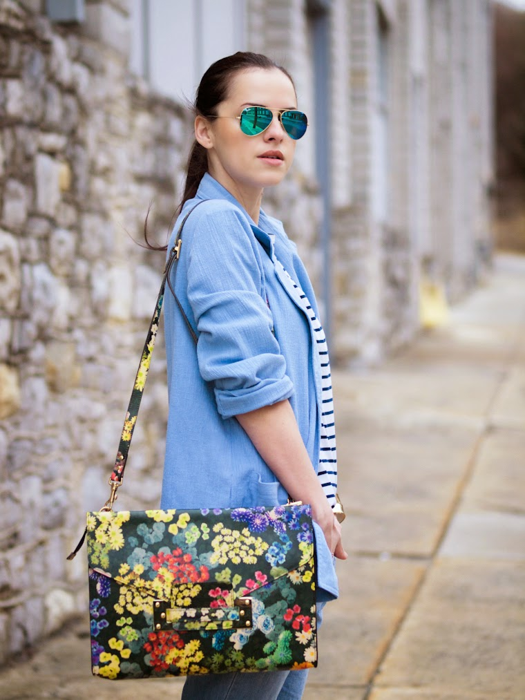 bittersweet colours, charles david, denim on denim, denim trend, floral prints, Floral trend, Levis, RAY BAN, sophie hulme, sophie hulme floral bag, Spring trends, street style, stripes, Tres Jewellery, vintage,