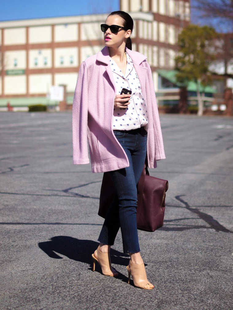 3.1 Phillip Lim, bittersweet colours, charles david, denim, Joe fresh, pajama trend, Parker Smith Jeans, Pink coat, PINK TREND, Spring trends, street style, vintage,