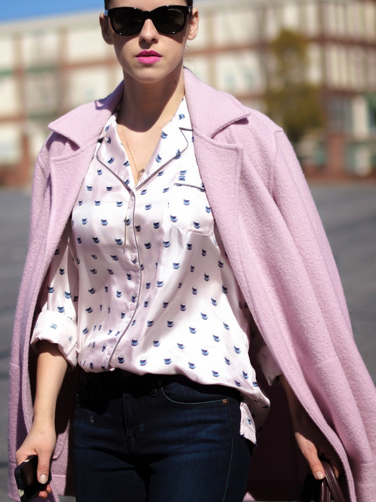 bittersweet colours, pajama trend, PINK TREND, denim, Parker Smith Jeans, 3.1 Phillip Lim, charles david, Joe fresh, vintage, Pink coat, Spring trends, street style,