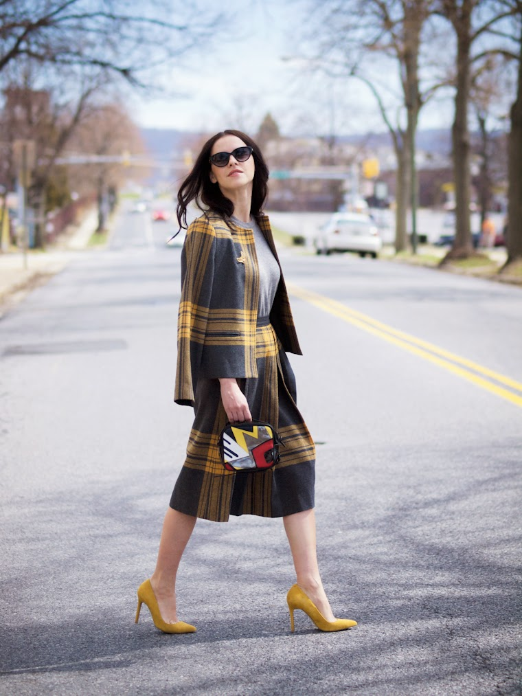 3.1 Phillip Lim, bittersweet colours, Shoemint, Spring trends, street style, Tartan print, VINTAGE SUIT, yellow, Ann Taylor,
