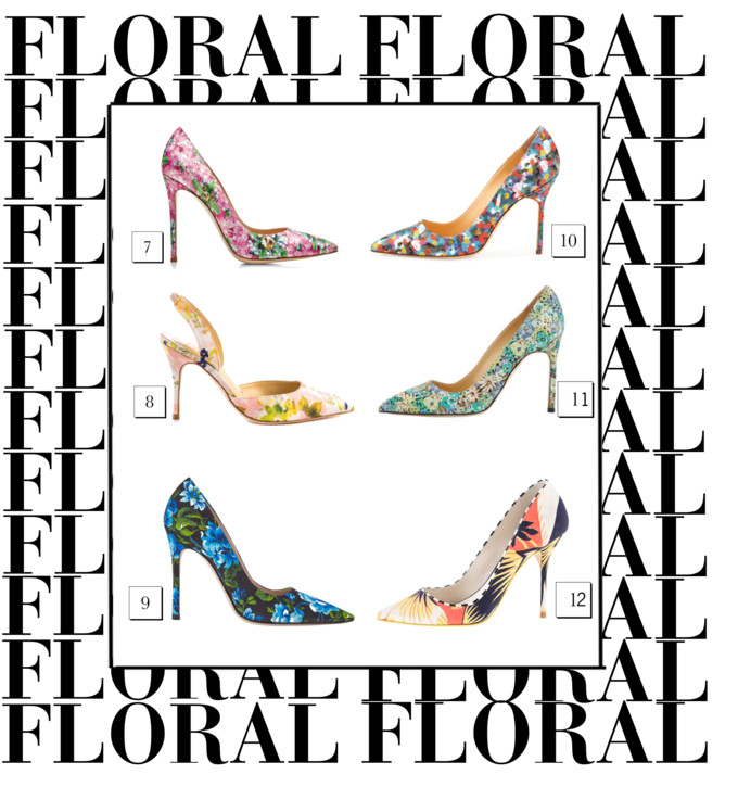 bittersweet colours, WISHLIST, shopping, Spring, floral prints, floral print pumps, J Crew, Mary Katrantzou, Manolo Blahnik floral shoes, miu miu floral shoes, Givenchy floral shoes, MSGM floral shoes, Ted Beker, Shoes,