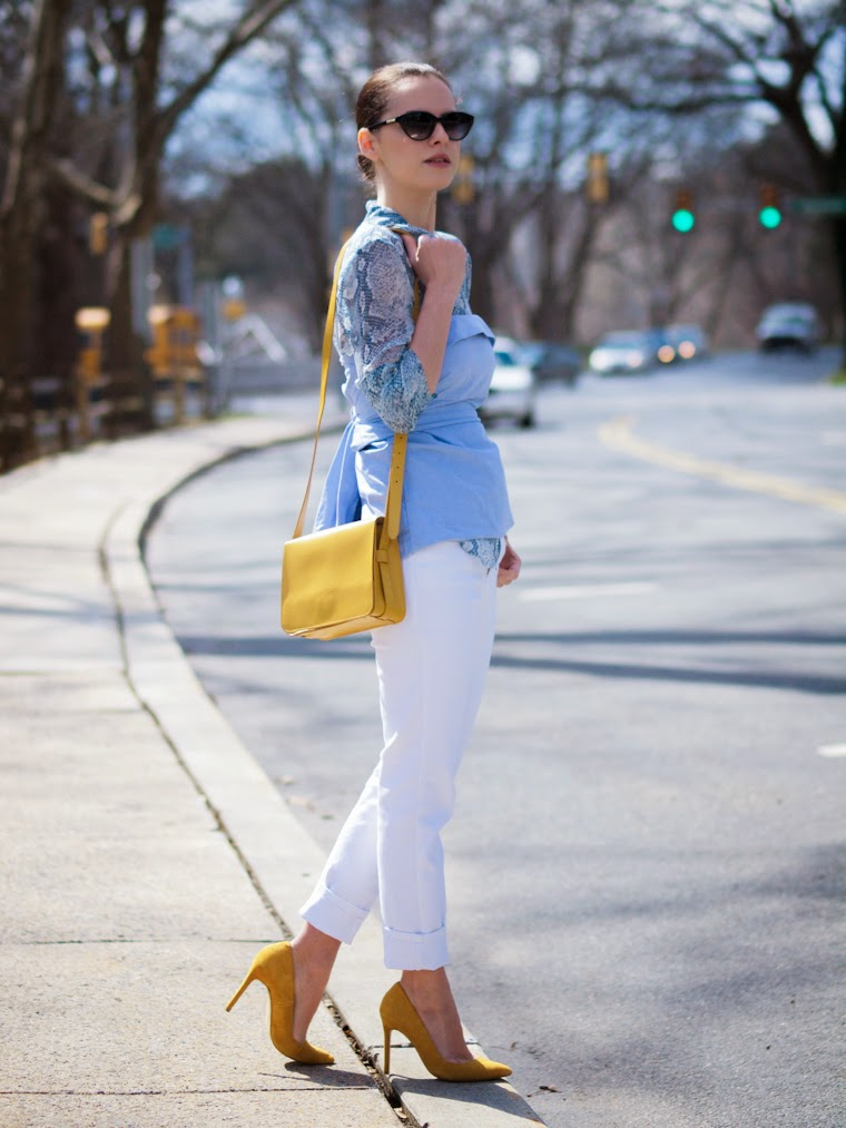 2 shirts in one look, Betsey Johnson, bittersweet colours, Joe fresh, Shoemint, snakeskin print, Spring, street style, white jeans, yellow, baby blue, SHIRT ON SHIRT, take two,