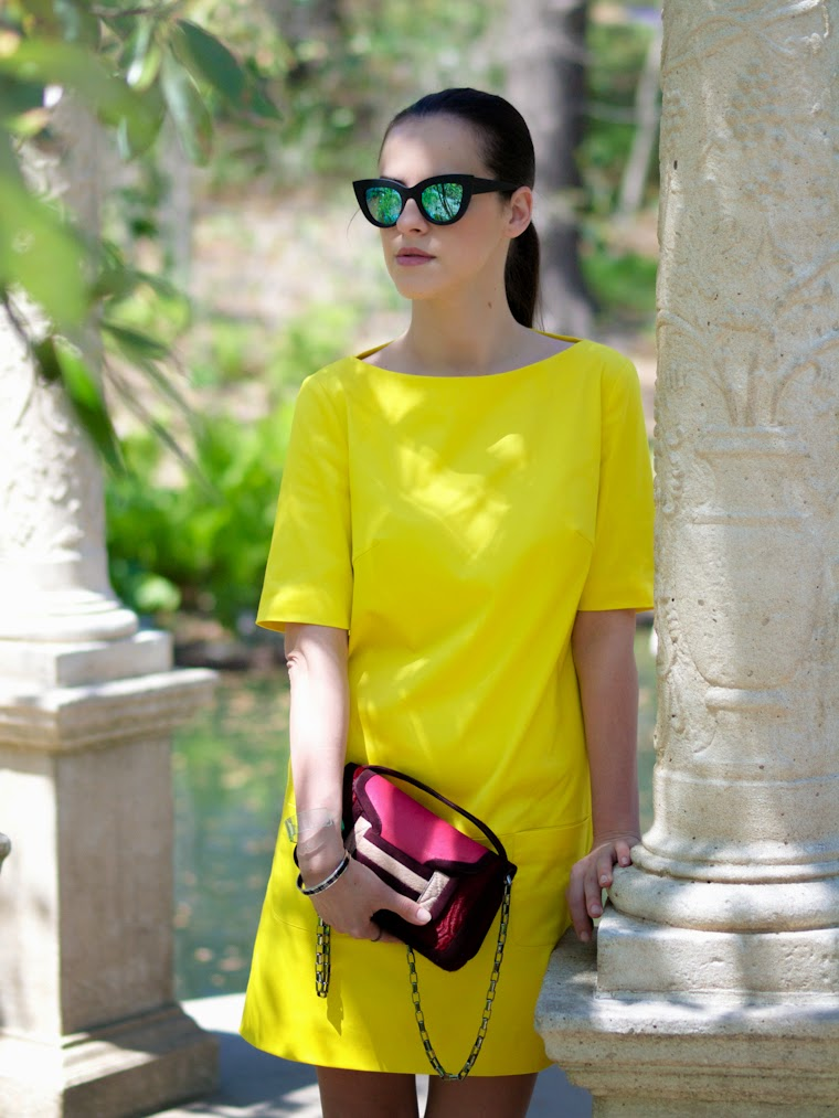 bittersweet colours, color blocking, piol dress neon yellow, Shoemint shoes, ASOS, mirrored sunglasses, eye cat sunglasses, cooee jewelry, Hermes, pierre hardy, pink, Spring, garden,