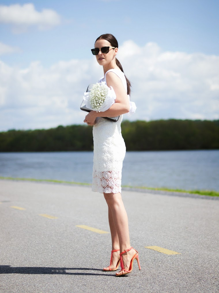 3.1 Phillip Lim, BB Dakota, bittersweet colours, coral sandals, crochet  dress,lovers and Friends, Lulu's, Quay Australia sunglasses, Spring, street style, white and white, Memorial day
