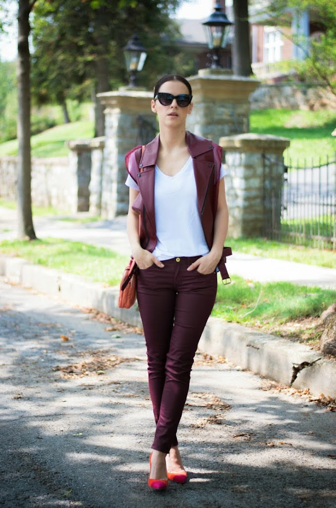 bittersweet colours, burgundy color, leather vest, Manolo Blahnik shoes, street style, Summer trends, white t-shirt, h&m, asos sunglasses, ASOS,