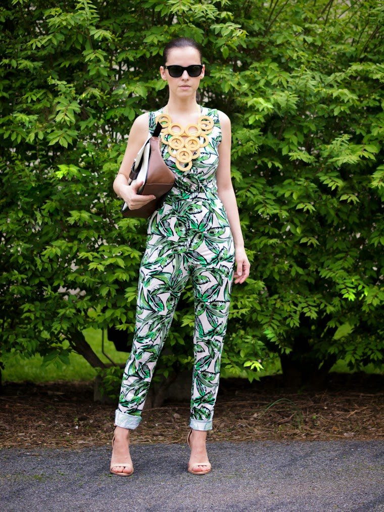 bittersweet colours, DIY necklace, Joanna Maxham bags, JUMPSUIT, palm prints, prints, summer, tropical prints, zara sandals, garden party, summer