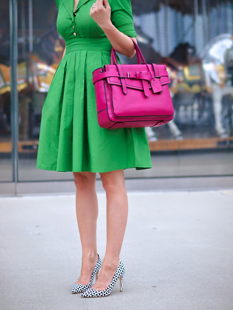bittersweet colours, Christian Dior sunglasses, green dress, J Crew shoes, jane's carousel, New York, PINK bag, printed shoes, Reed Krakoff, street style,