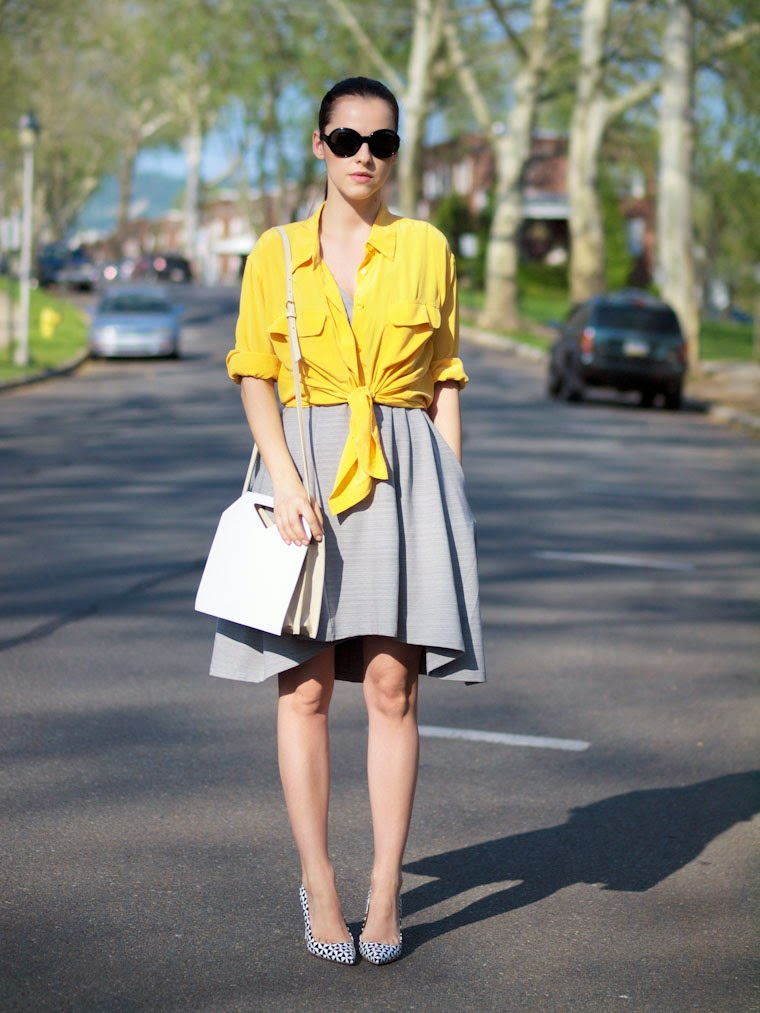 bittersweet colours, J.Crew shoes, obakki dress, equipment shirt, yellow shirt, street style, summer, IMAGO-A bag, geometric prints, giveaway