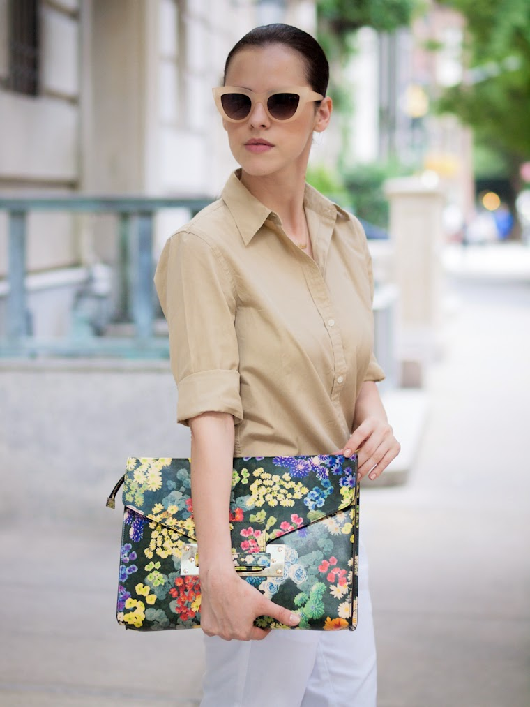 bittersweet colours, New York, sophie hulme floral bag, Ralph Lauren, Tommy Hilfiger, Chanel espadrilles, CHANEL, ASOS, eye cat sunglasses, street style, summer, white and nude, Neutrals,