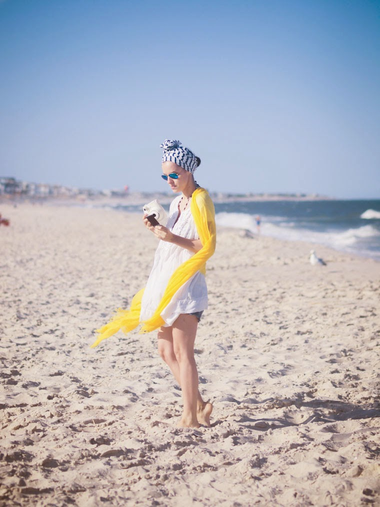 bittersweet colours, ocean, Beach day, stripes, yellow, forever21, summer 2014, white dress, Cynthia Rowley, fujifilm, RAY BAN, long island beach