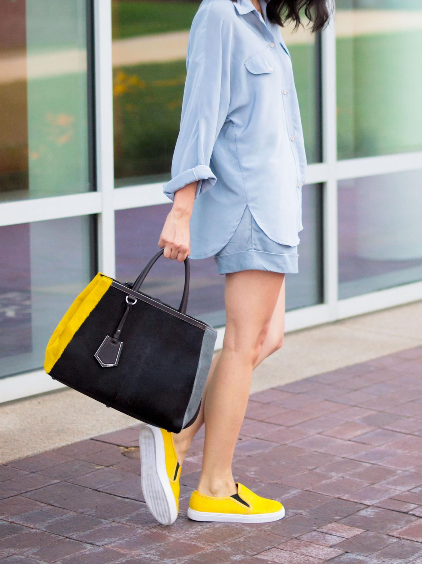 bittersweet colours, 3.1 phillip lim, 2jours bicolor fendi bag, fendi bag, grey outfit, asos sneakers, sneakers trend, k-kane jewelry, street style, silk shirt, summer style,  yellow sneakers