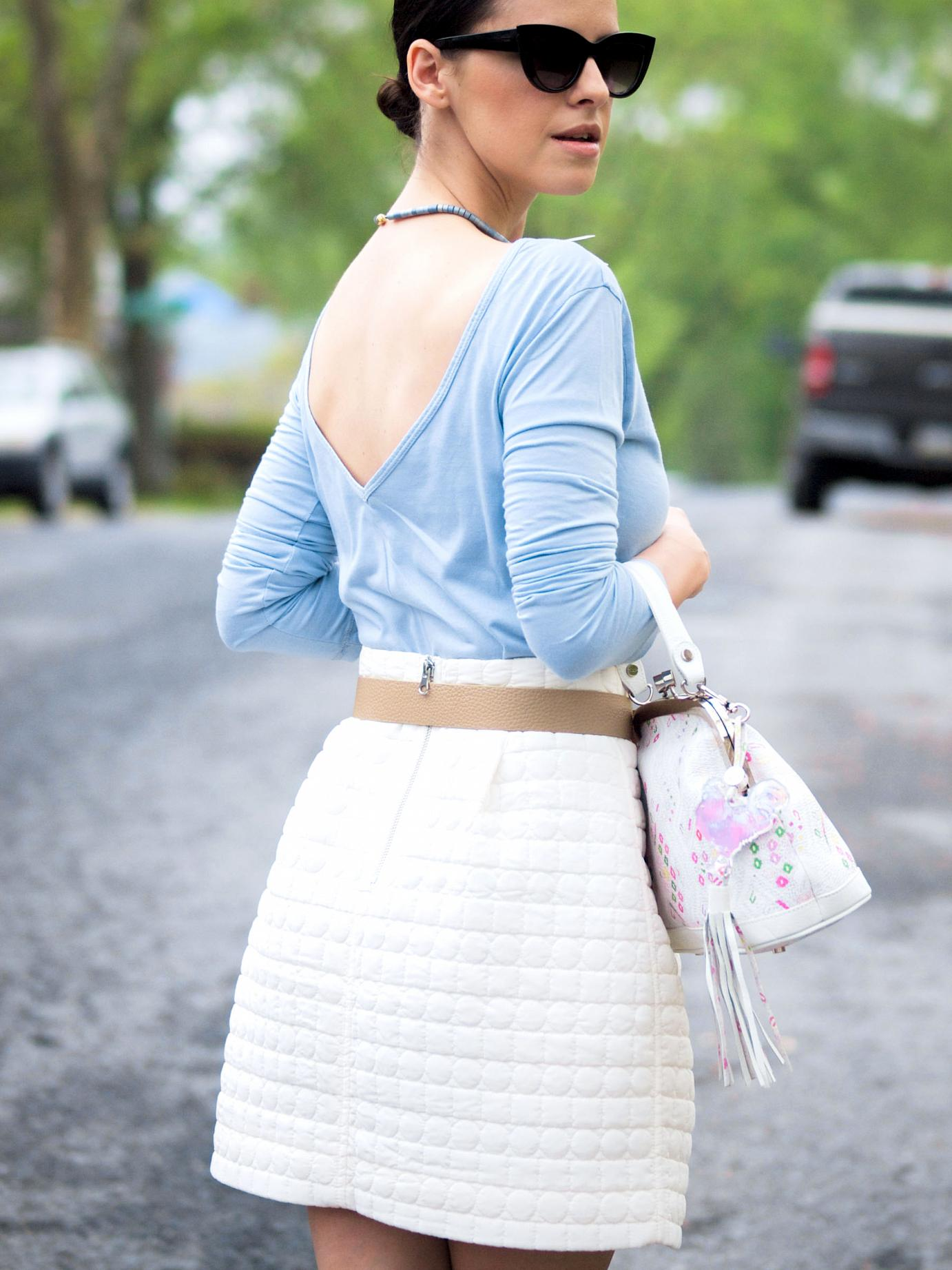 bittersweet colours, summer, full skirt. toggery top, pastels, baby blue, christian louboutin, asos sunglasses, street style, ladylike, bizi buenos aires bag,