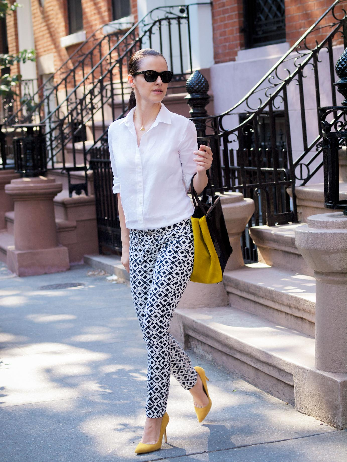 bittersweet colours, new york, street style, J.Crew jeans, Printed jeans, fendi bag, 2jours fendi bag, summer