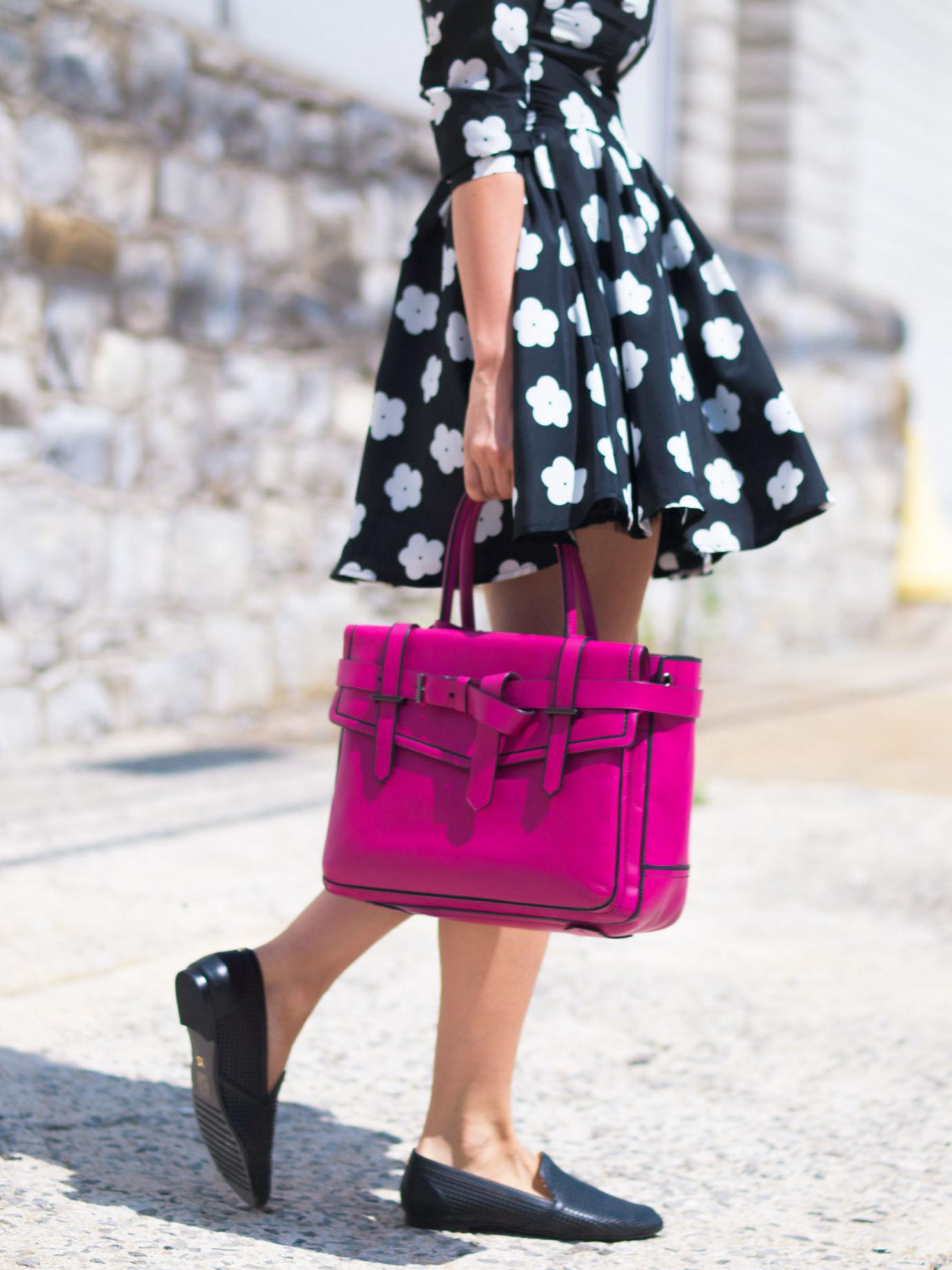 bittersweet colours, floral dress, lbd, summer dress, reed krakoff bag, pink bag, yosi samra shoes, dior sunglasses, street style,