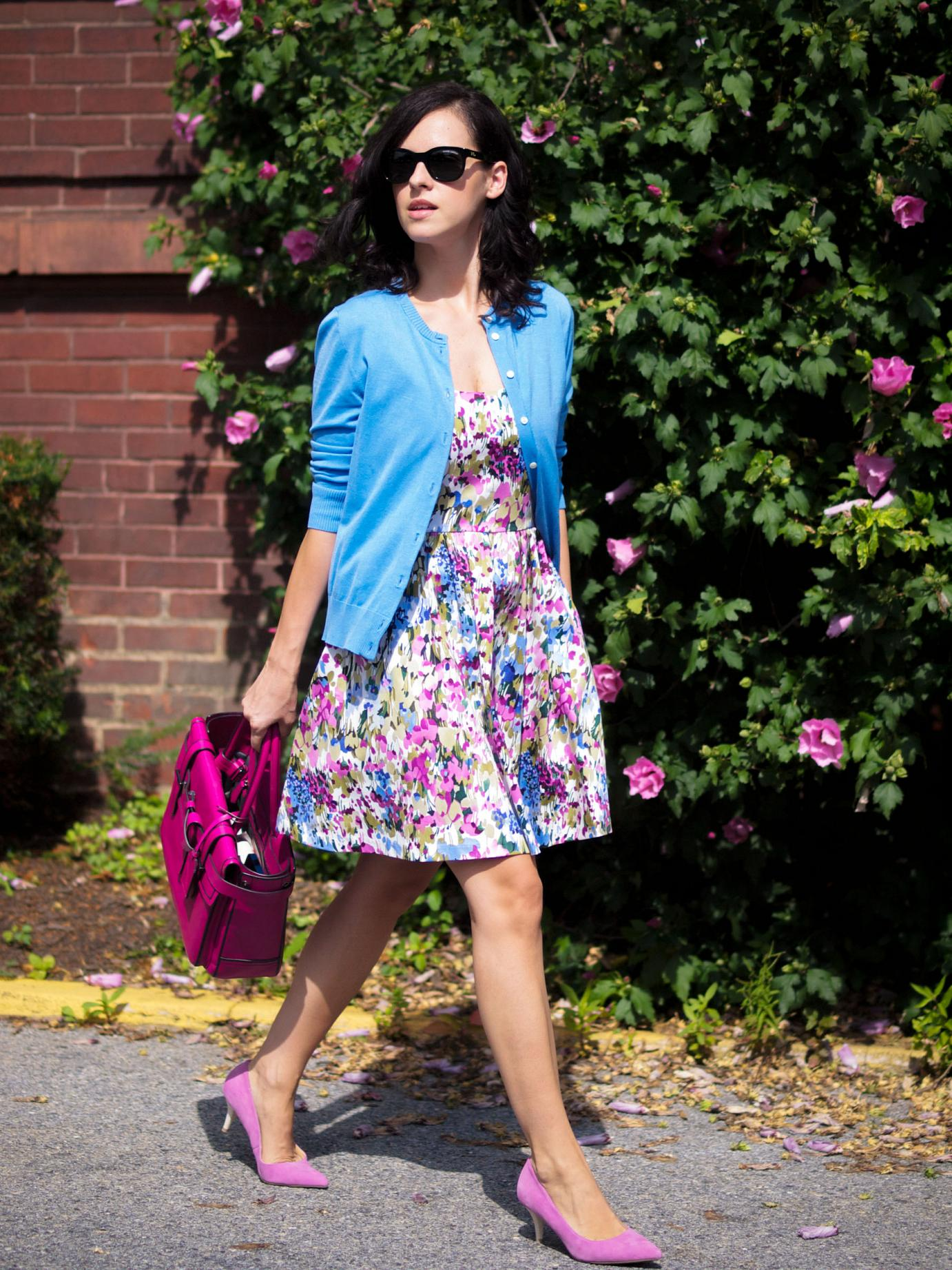 bittersweet colours, floral painted dress, j.crew cardigan, joe fresh, pink pumps, kitten heels, reed krakoff bag, summer dress, street style