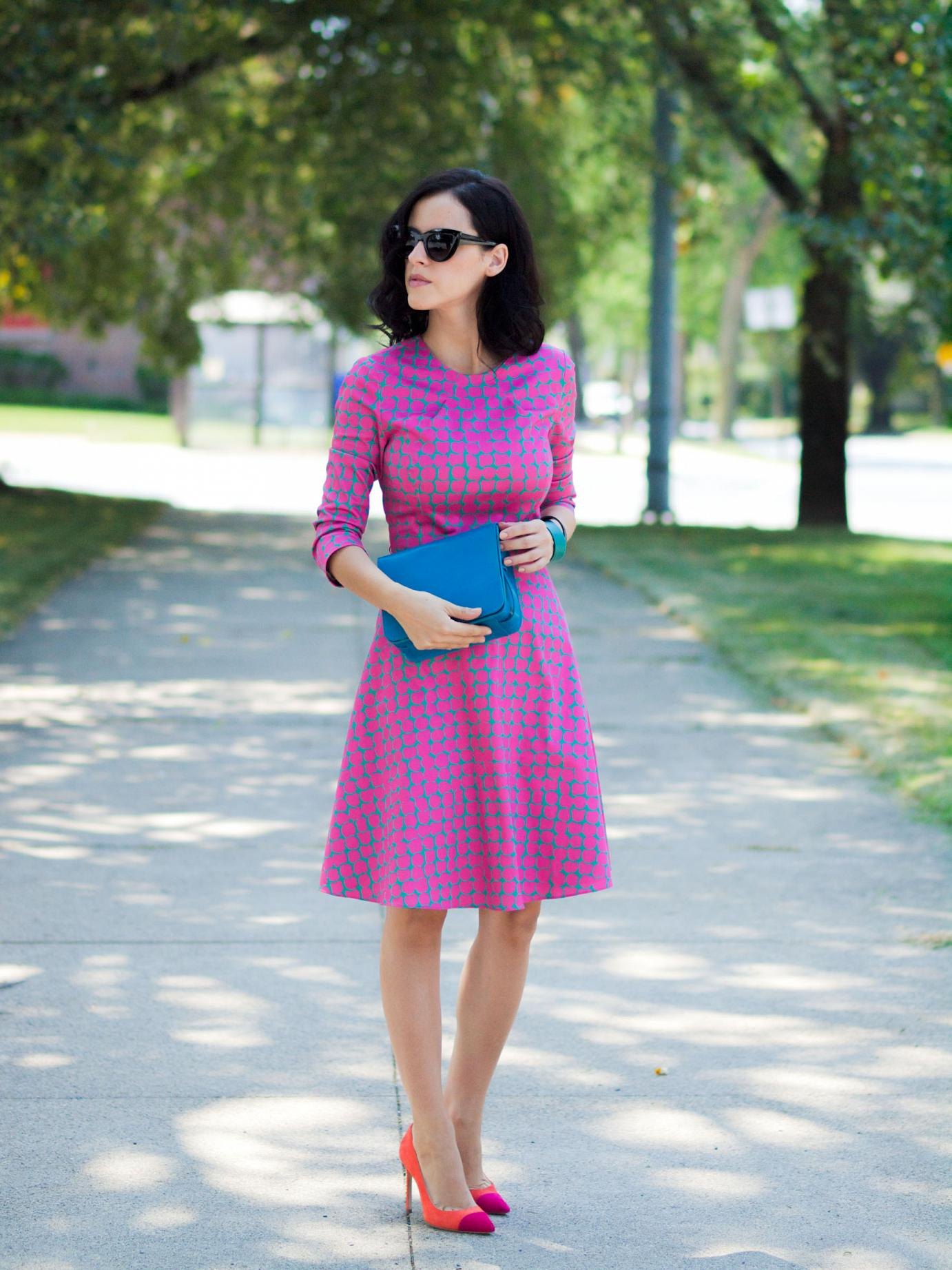 bittersweet colours, giveaway, pink dress, piol dress, cooee jewelry, asos sunglasses, manolo blahnik, printed dress, street style, feminine style, colors