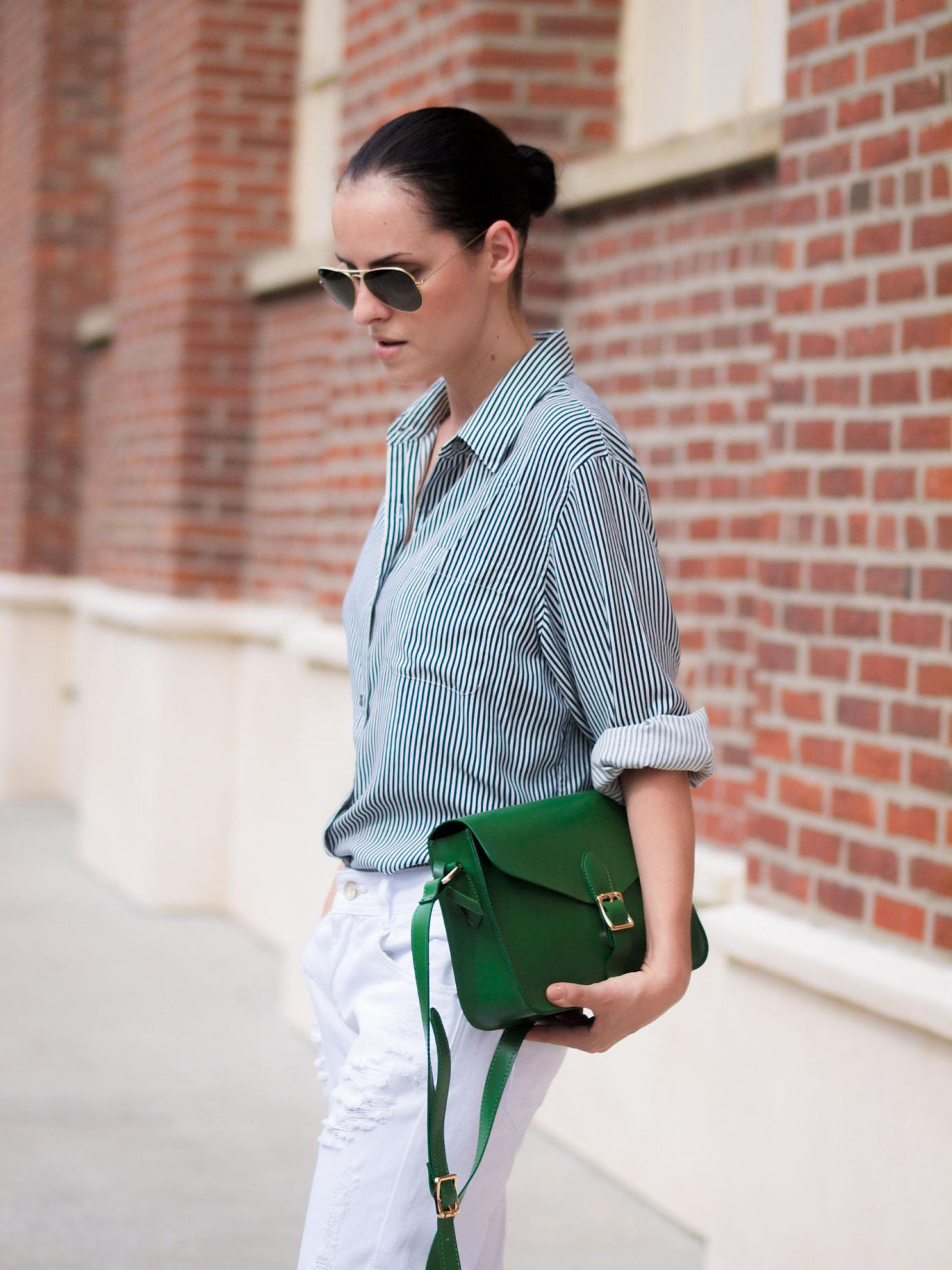 BITTERSWEET COLOURS, angela Roi bag, green bag, boyfriend jeans, white jeans, j.crew shoes, stripes, street style. ray ban, lord and taylor,