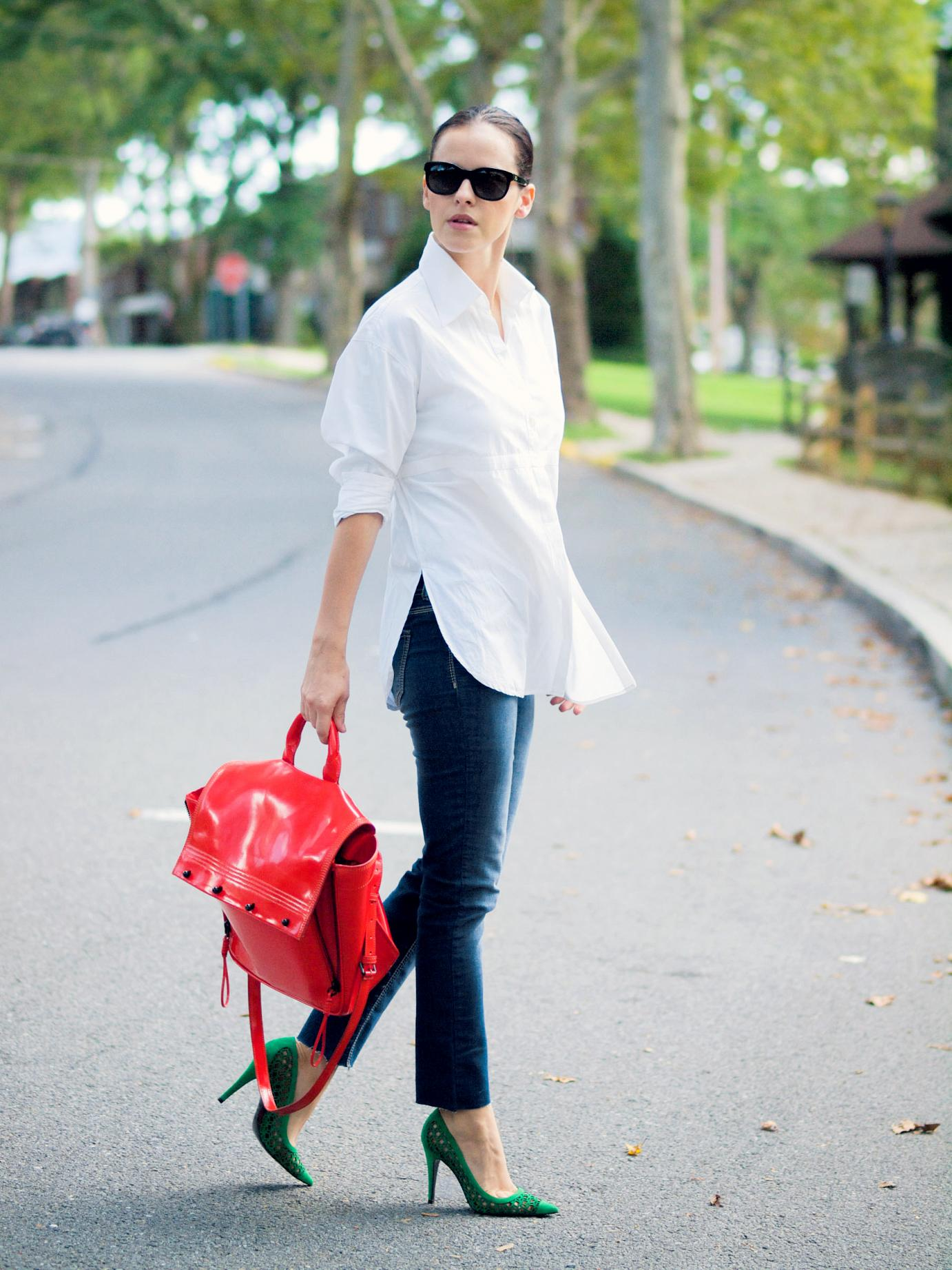 bittersweet colours, Anne Fontaine shirt, pierre hardy shoes, green shoes, denim, blue jeans, 3.1 phillip lim bag, red bag, street style, casual loook,