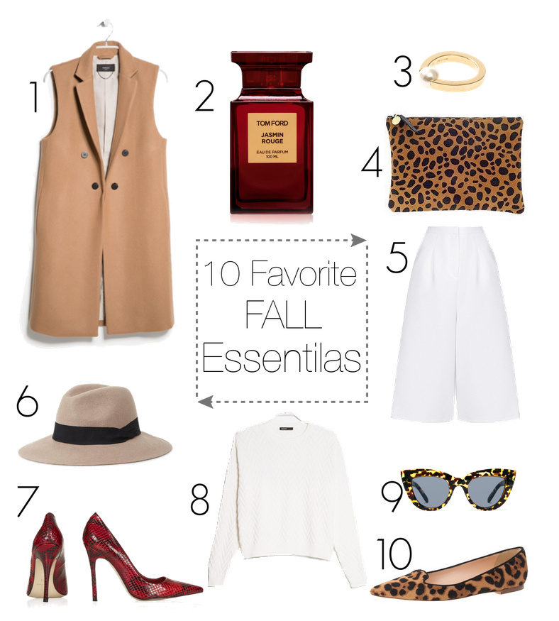 bittersweet colours, wishlist, fall favorite essentials, camel coat, animal print shoes, eye cat sunglasses, culottes, burgundy shoes, tom ford perfume, j.crew, chloe pearl ring, wool hat, mango sweater, fall essentials
