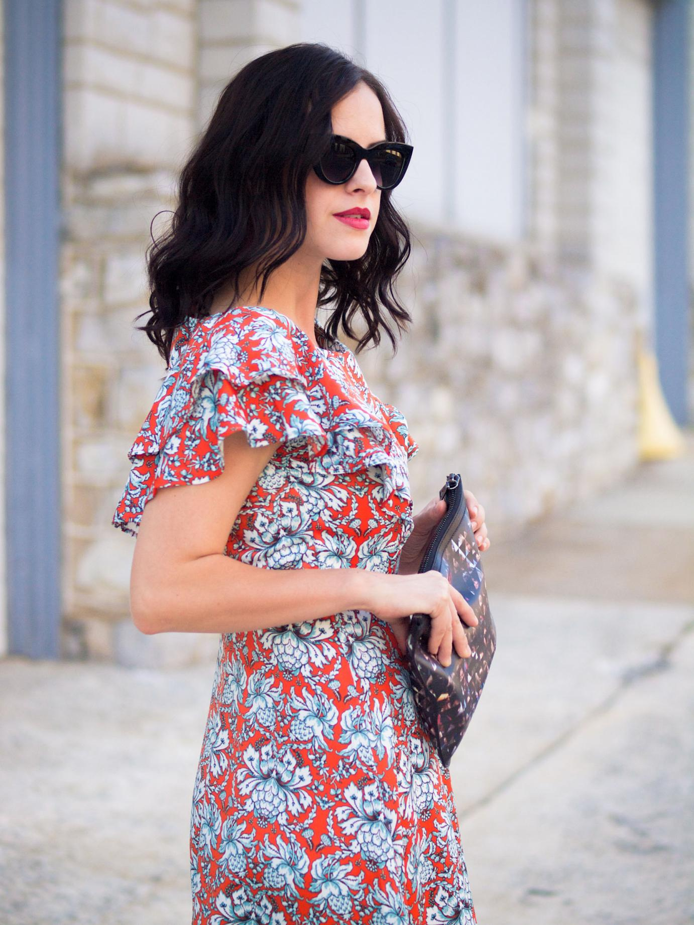 bittersweet colours, ruffles trend, printed dress, colors, prada sandals, asos sunglasses, proenza schouler, shabby apple, street style, summer dress,
