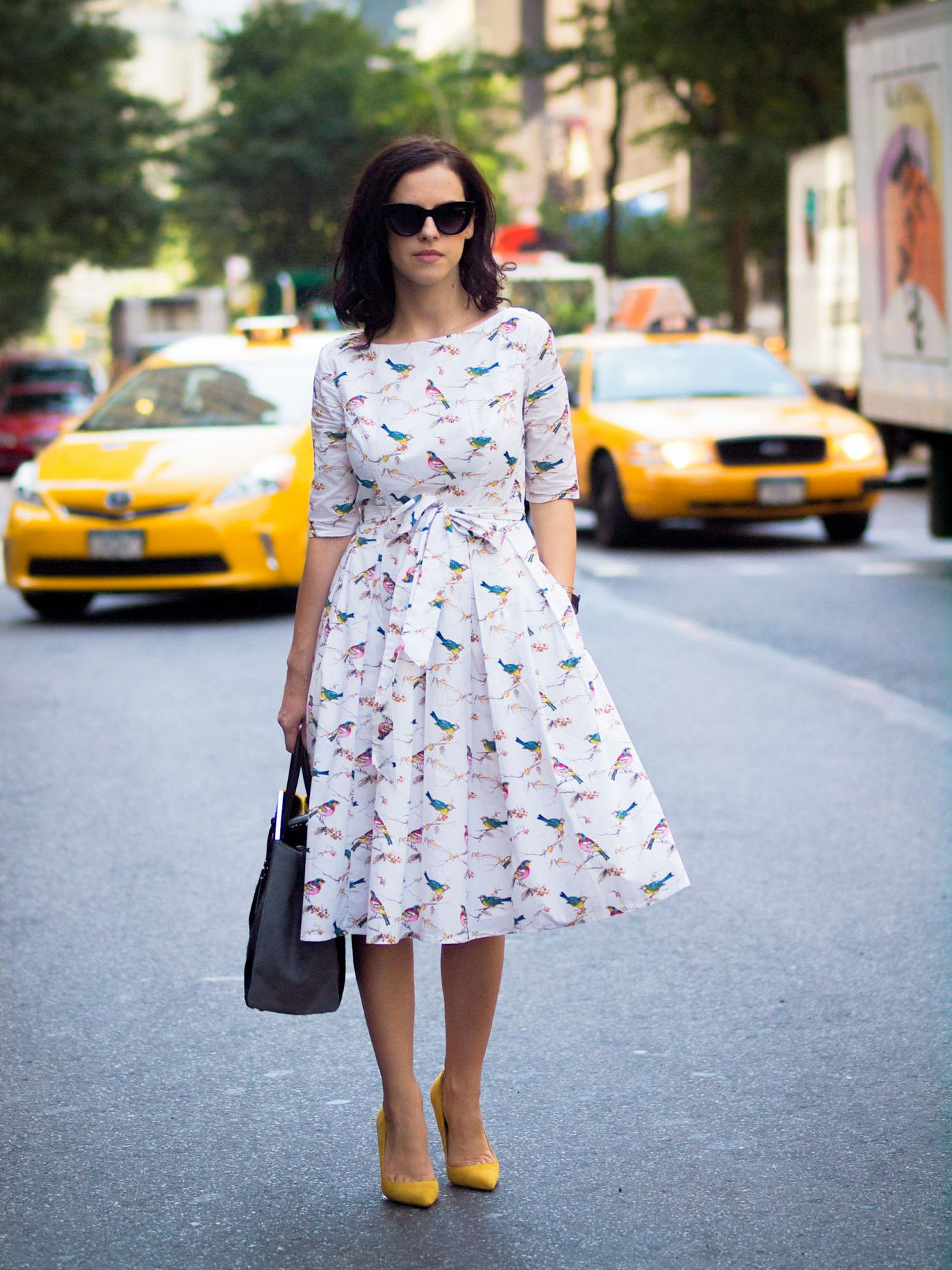 bittersweet colours, nyfw, lincoln center nyfw, street style, new york, fendi 2jours bag, fendi bag, yellow shoes, asos sunglasses, eye cat sunglasses, feminine style, bird print dress, whire dress, cooee jewelry