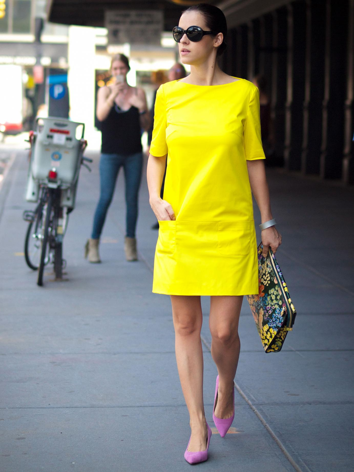 bittersweet colours, nyfw, nyfw street style, street style, New York, piol dress, sophie hulme floral bag, cooee jewelry, neon yellow dress, Ralph Lauren