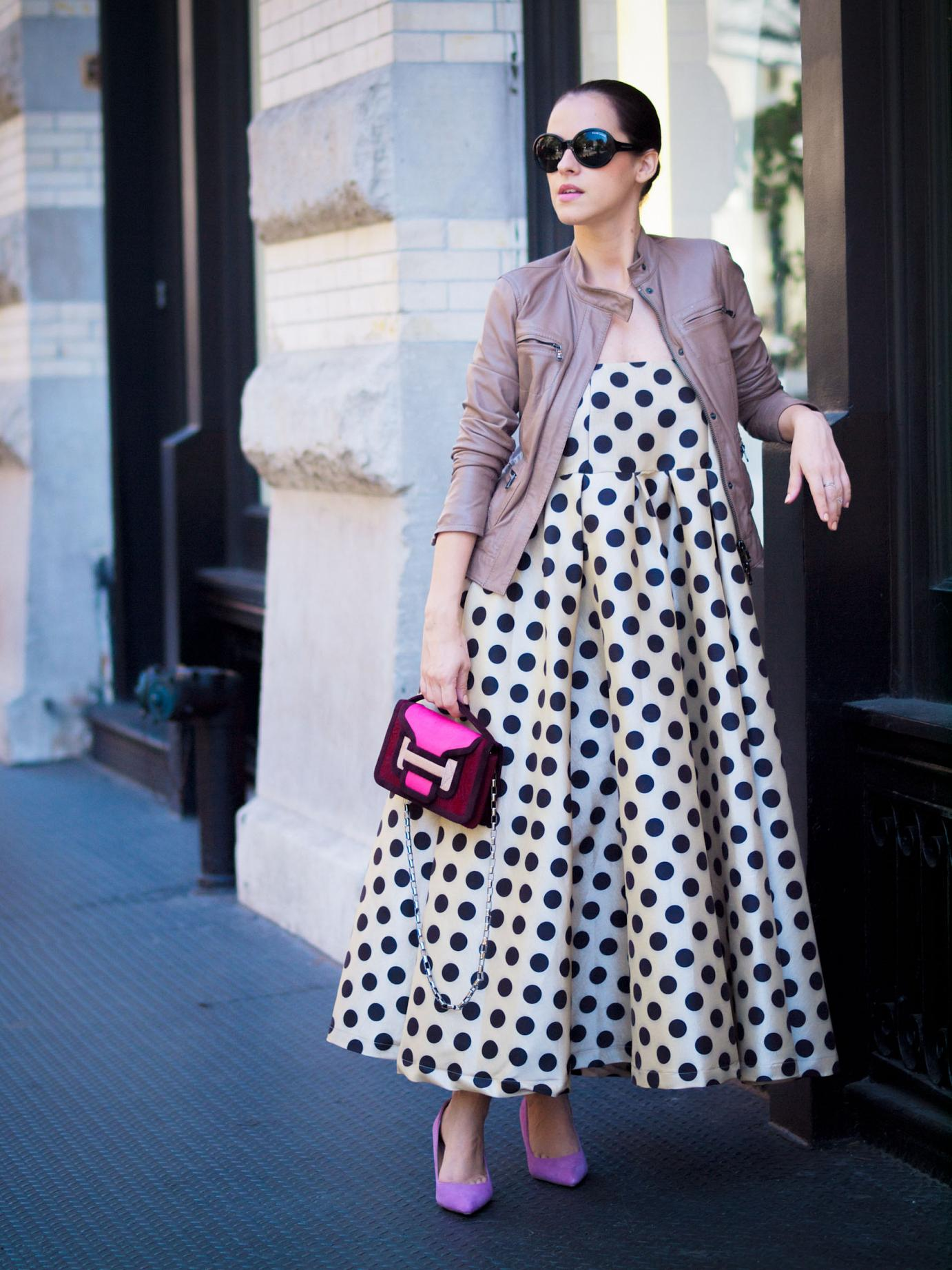 bittersweet colours, nyfw, nyfw september 2014, nyfw SS2015, nyfw street style, street style, New York, leather jacket, polka dot dress, polka dot prints, pink heels, pierre hardy bag, pink bag, fall trends, feminine style,