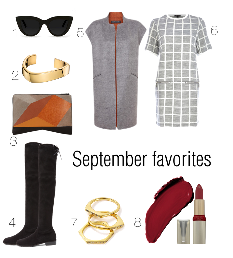 bittersweet colours, wishlist, september favorites, fall trends, stuart weitzman boots, narciso Rodriguez, check dress, river island, sleeveless coat,