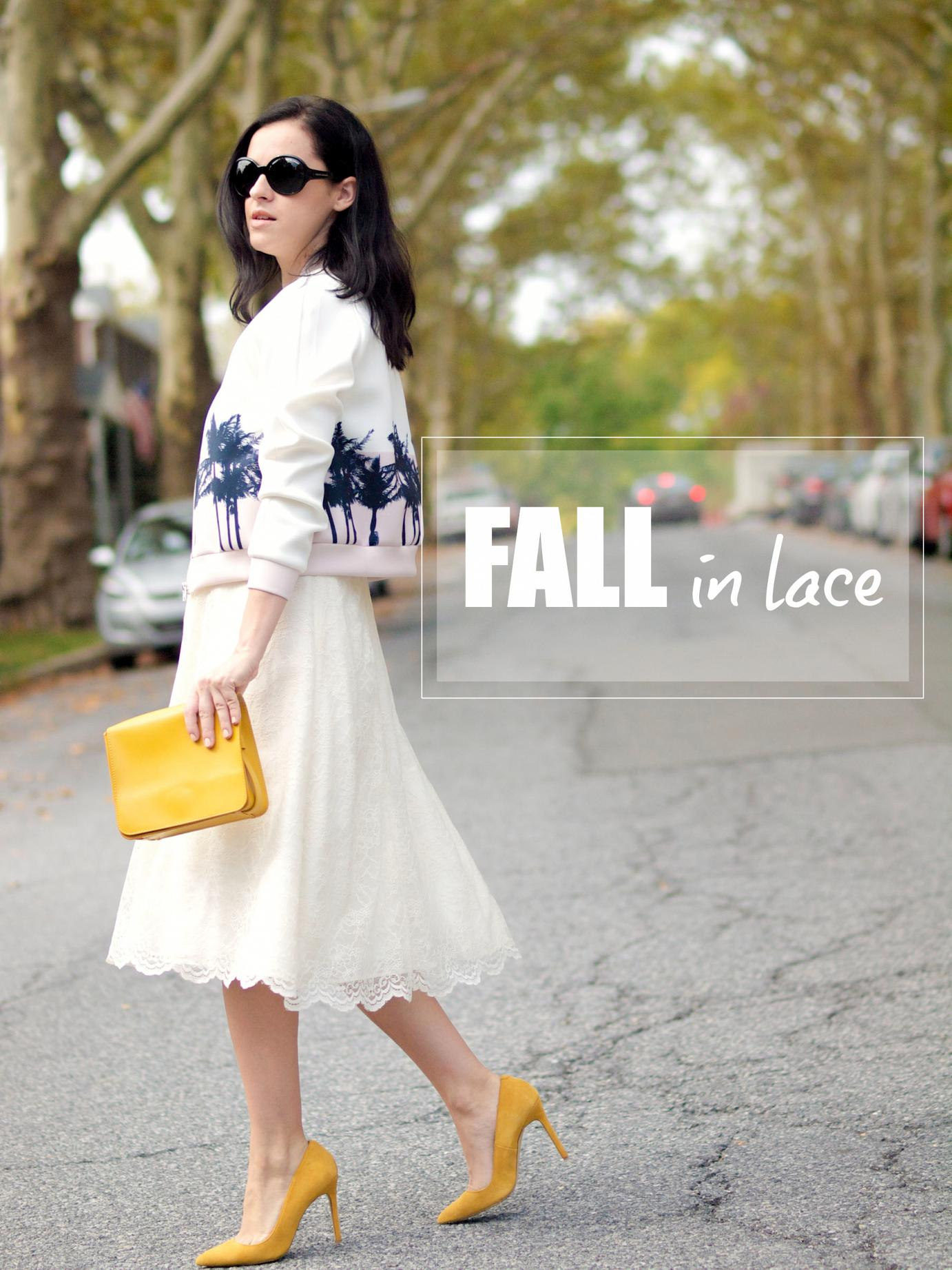bittersweet colours, street style, fall trends, lace skirt, lace trend, yellow shoes, neoprene jacket, maternity style, fall in lace