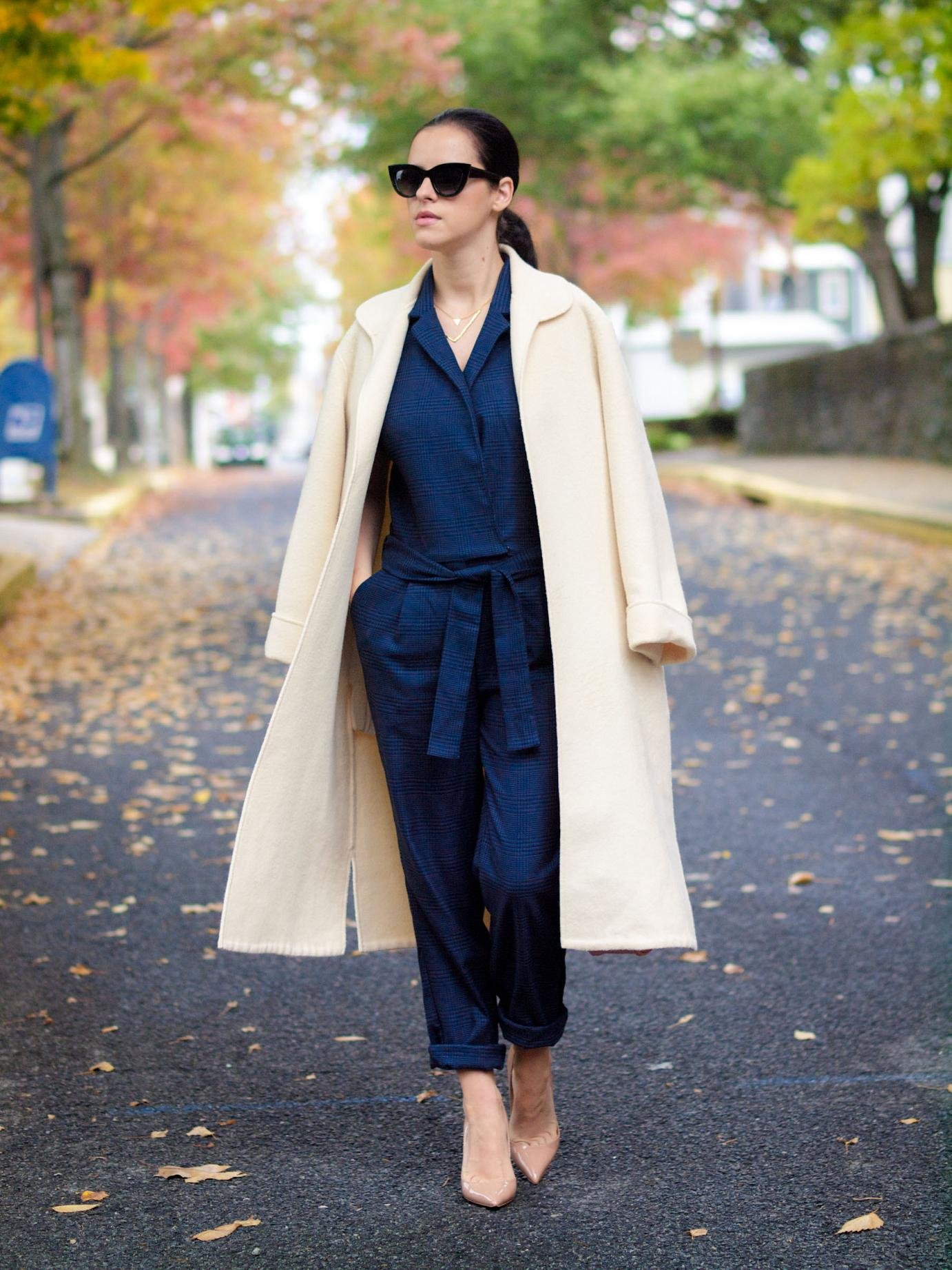 bittersweet colours, statement coat, valentino coat, ivory coat, wool coat, jumpsuit, asos sunglasses, christian louboutin shoes, street style, fall coats, fall colors, fall trends, gorjana jewelry, maternity style, bump style,