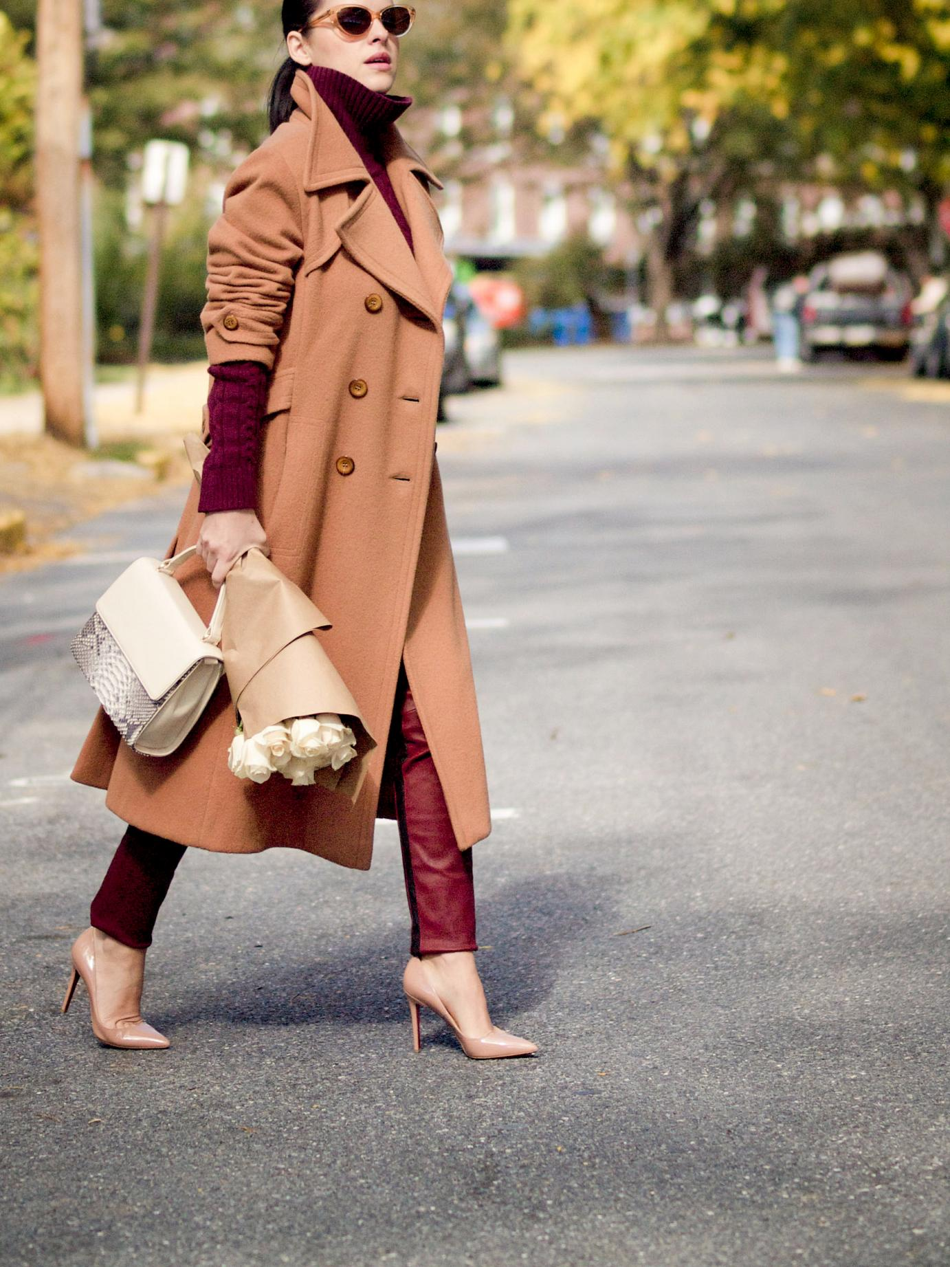 bittersweet colours, fall, fall coats, fall colors, camel coat, burgundy color, burgundy trend, leather pants, A.L.C. pants, christian louboutin shoes, maternity style, 20 weeks, bumb style, eye cat sunglasses, mini bag, street style, fall street style,