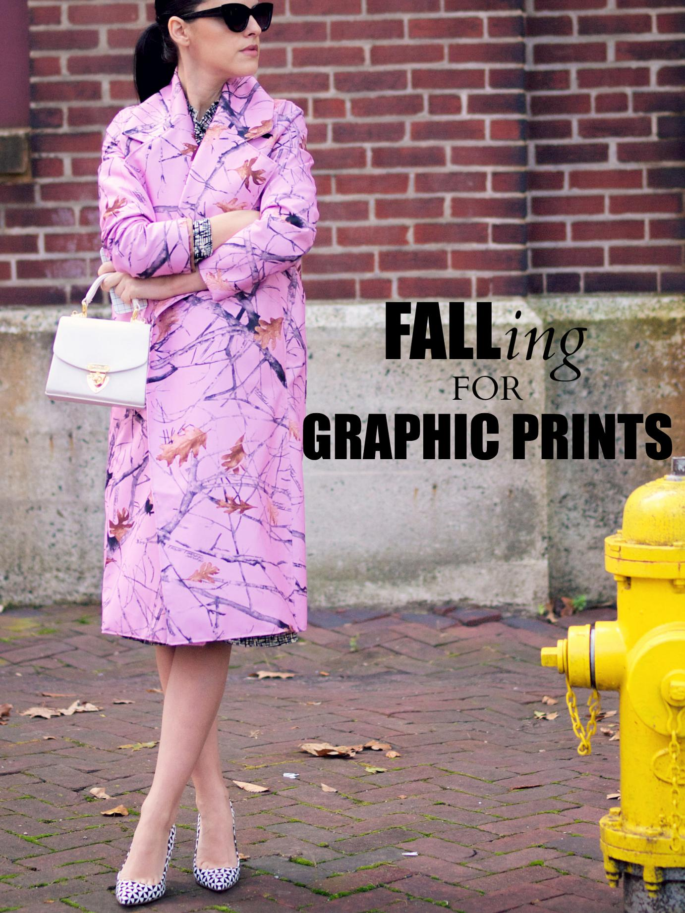 bittersweet colours, geometric prints, graphic prints, prints, DIY coat, diy, j.crew shoes, pink coat, pink trend, fall coats, fall, street style, asos, maternity style, 19 weeks, vintage bag,