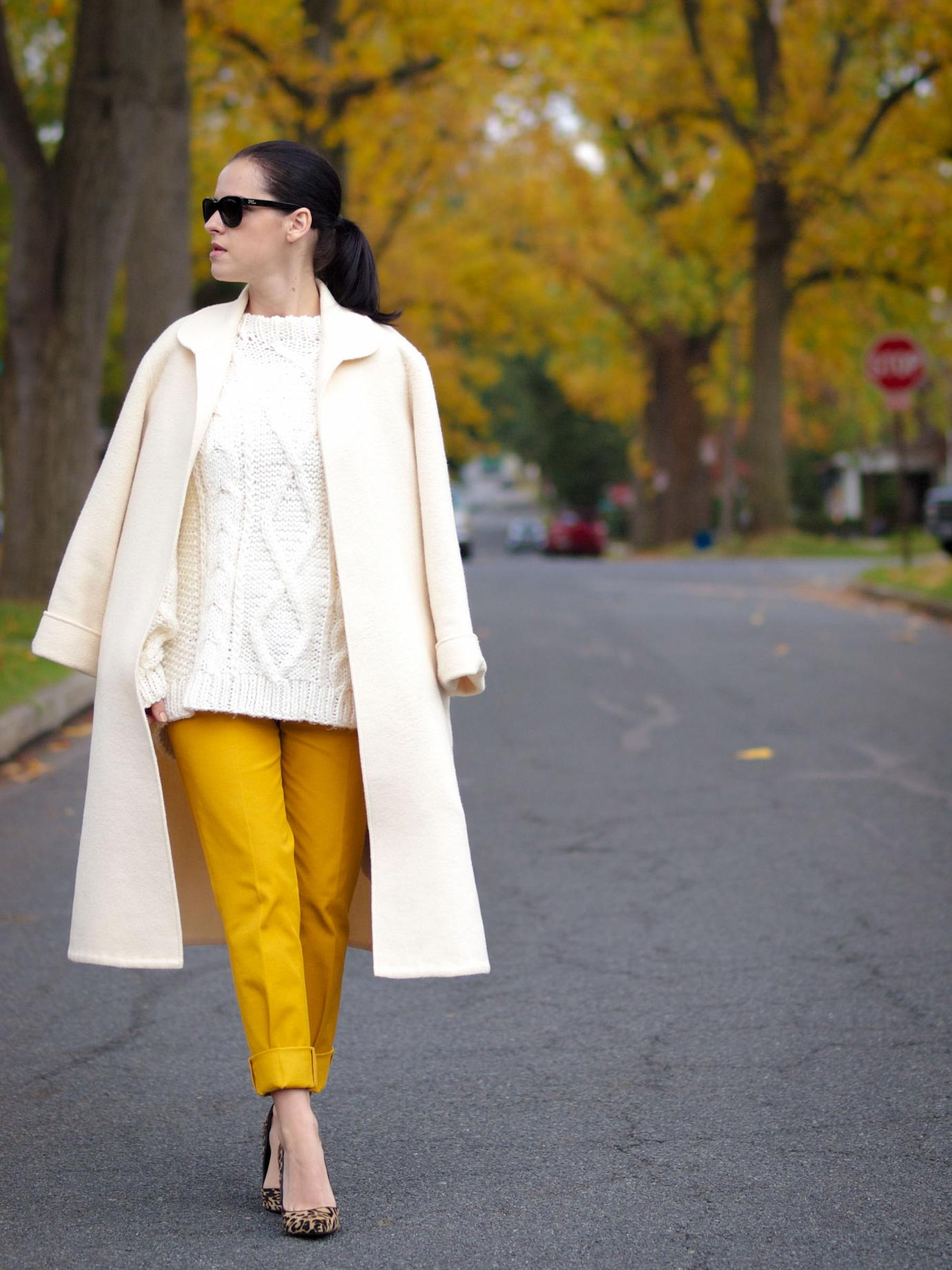 bittersweet colours, fall coats, fall colors, fall street style, chunky sweater, yellow pants, banana republic, leopard print shoes, valentino coat, vintage coat, street style, 20 weeks, maternity style, GIVEAWAY, world wide giveaway,