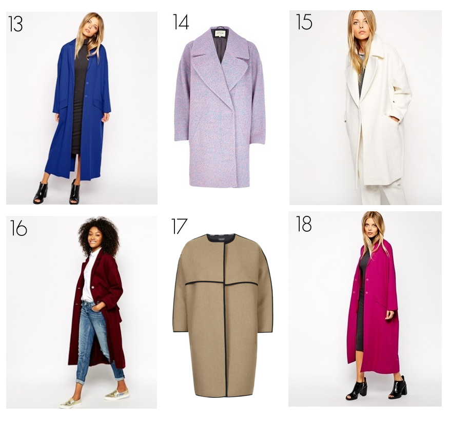 bittersweet colours, wishlist, fall coats, winter coats, colorful coats, asos, river island coats, topshop coats, shopping list, belted coat, boyfriend coat, wool coat, neoprene coat, camel coat, burgundy coat, pink coat, white coat