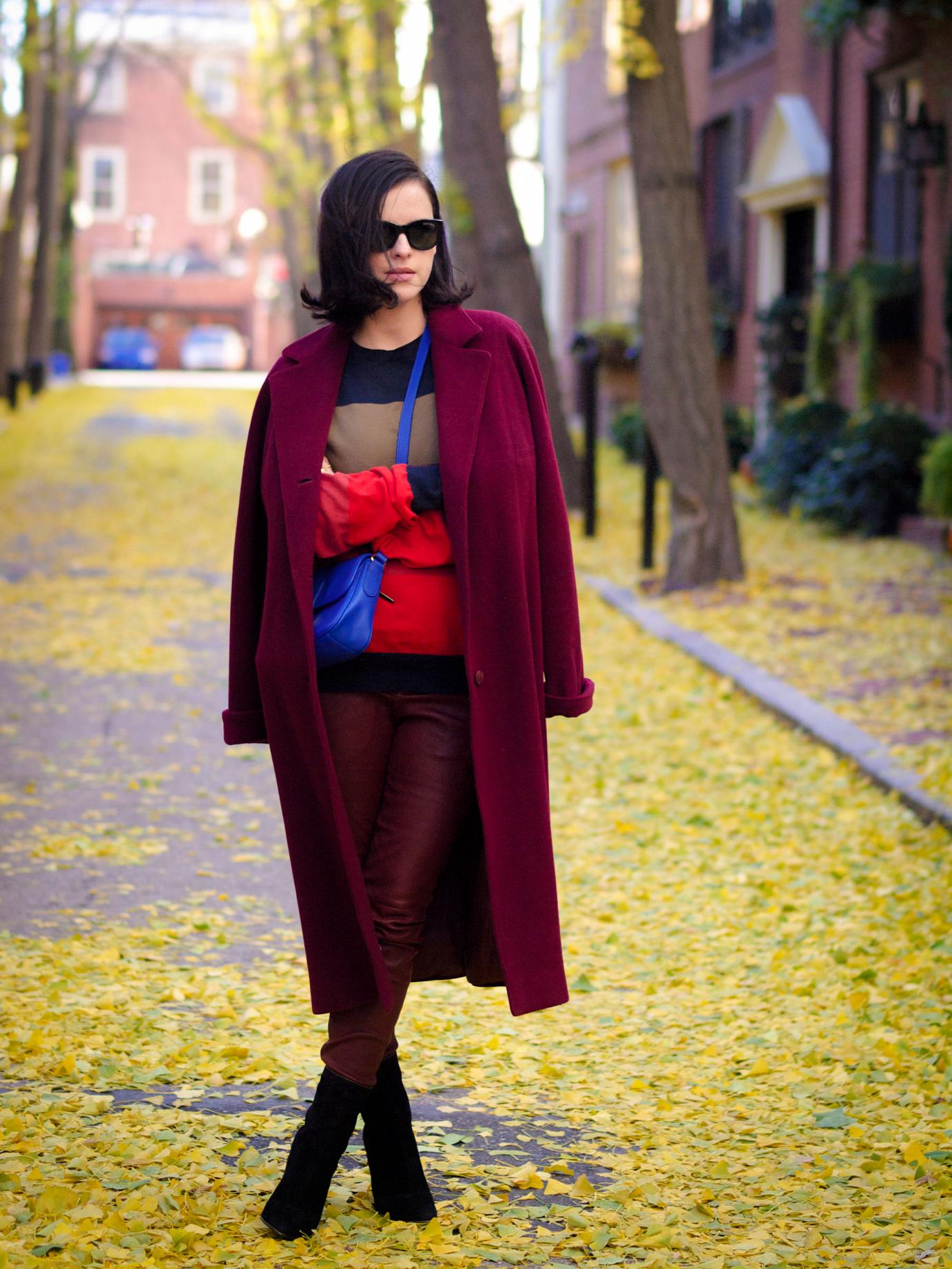 bittersweet colours, burgundy coat, fall colors, Philadelphia, fall street style, street style, cynthia rowley, A.L.C leather pants, leather pants, mango booties, maternity style, 23 weeks,