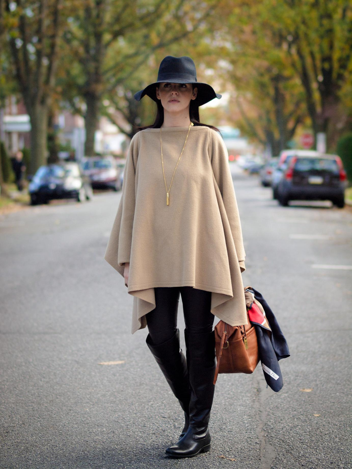 bittersweet colours, fall coats, fall street style, cape, wool cape, camel coat, over the knee boots, frye boots, hats, wool hat, dior scarf, street style, leather pants, black and camel,