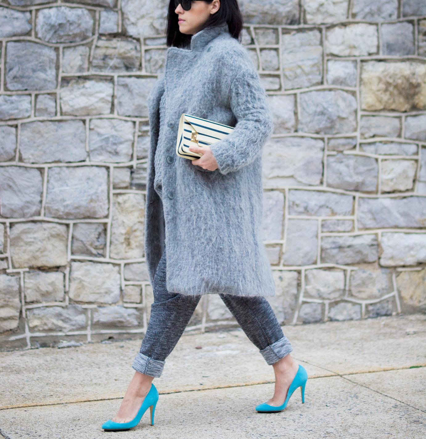bittersweet colours, grey coat, fuzzy coat, grey outfit, konstantina tzovolou shoes, sophie hulme bag, fall street style, street style, maternity style, 25 weeks, sweater weather,