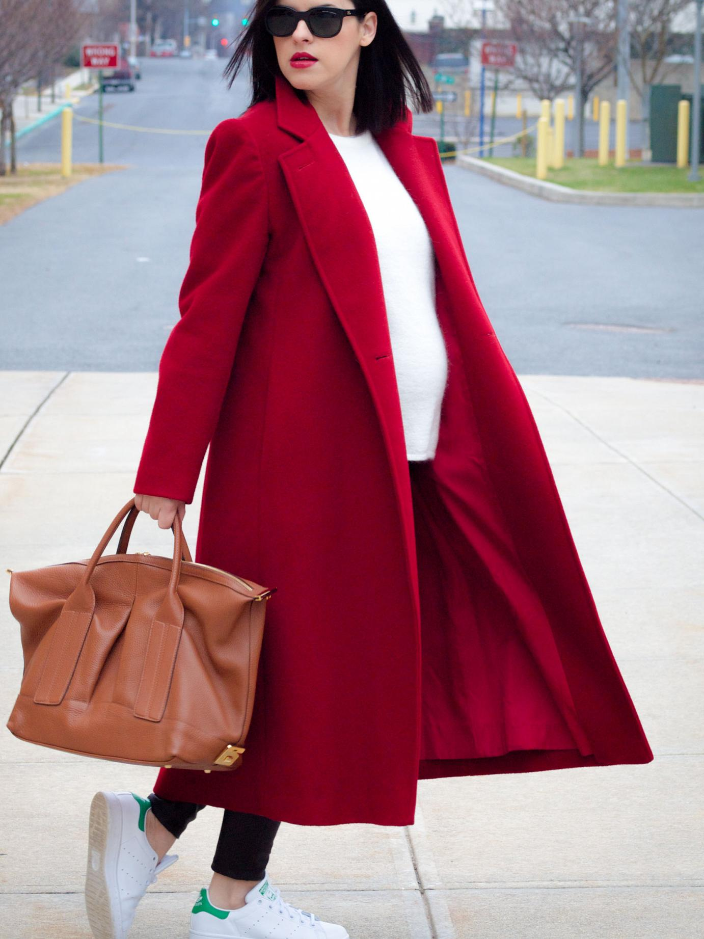bittersweet colours, fall street style, winter coats, red coat, winter street style, leather leggings, stan smith adidas, Joanna Maxham Bag, gestuz coat, maternity style, 28 weeks, casual loook,