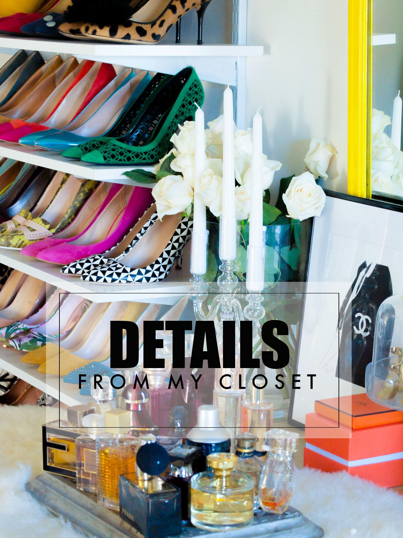 bittersweet colours, details, details from my closet, chanel bracelet, chanel eau the parfum, colorful shoes, closet organization ideas, colors, shoes, charlotte olympia shoes, christian louboutin shoes, j.crew shoes, miu miu shoes,