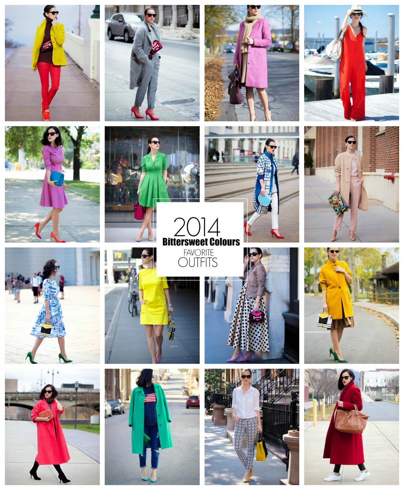 bittersweet colours, 2014 outfits, colors, street style, fall style, winter style, summer style, colorful coats, colorful shoes