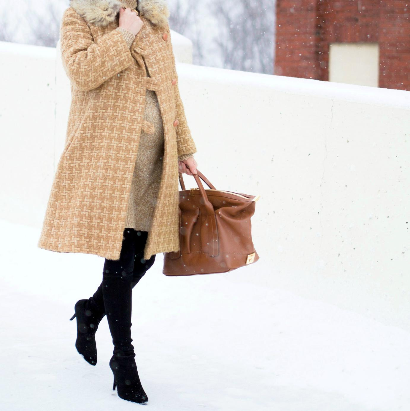 bittersweet colours, street style, winter coats, winter street style, sweater dress, stuart weitzman boots, Joanna Maxham Bag, winter style, monochrome look, maternity style, 30 weeks,
